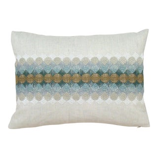 Embroidered Scallop Lumbar Pillow Cover For Sale