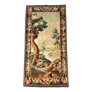 19th Century French Aubusson Verdure Tapestry With Bird and Foliage For Sale
