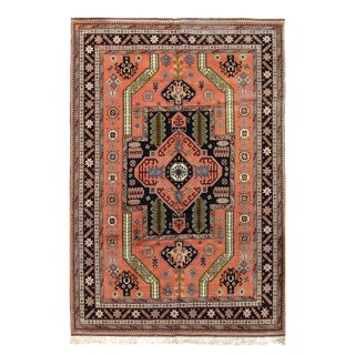 """Pasargad Afghan Salmon Hand Knotted Rug - 6′8"""" × 9′8″ For Sale"""