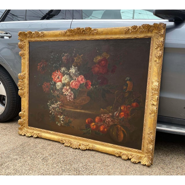 19th Century French Still Life Flower Oil Painting in Carved Gilt Frame For Sale In Dallas - Image 6 of 13