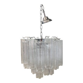 """Contemporary Murano Glass """"Tronchi"""" Chandelier With Kromo Metal Frame For Sale"""
