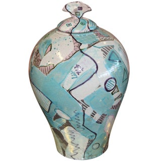 Amadio Smith Large Raku Covered Pot, 1988 For Sale