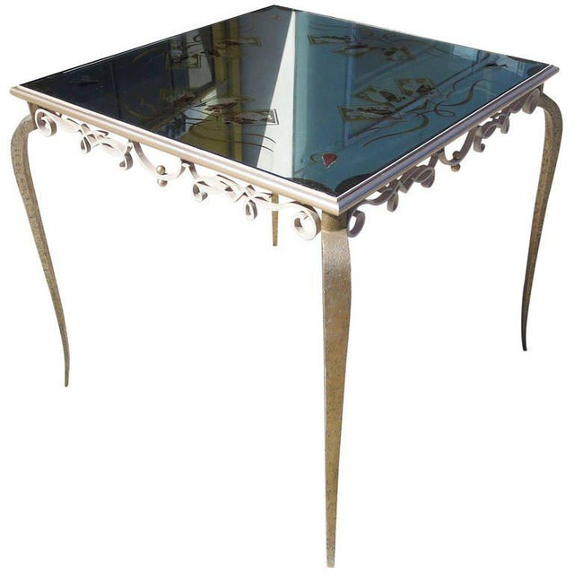 Églomisé Mirrored Game Table in the Manner of Rene Drouet For Sale - Image 9 of 9
