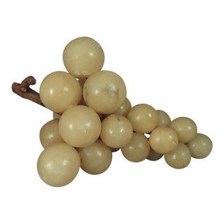 Vintage Italian Alabaster Grapes With Genuine Grapevine Stem For Sale