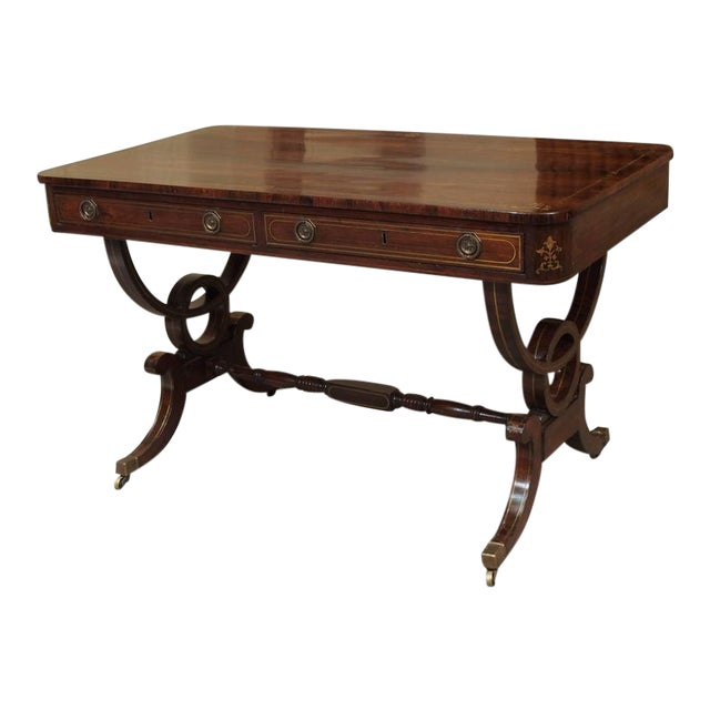 Antique English Regency Rosewood Writing Table, Saber Legs, Brass Inlay For Sale