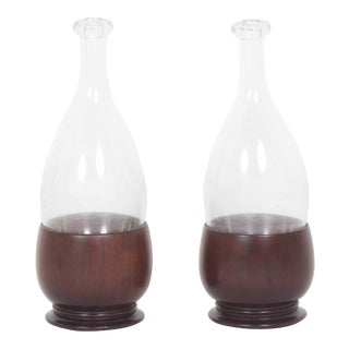 19th Century Handblown Bottles with Later Custom Stands - A Pair For Sale