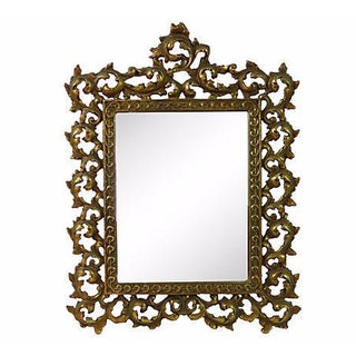 Solid Brass Rococo Table Mirror For Sale