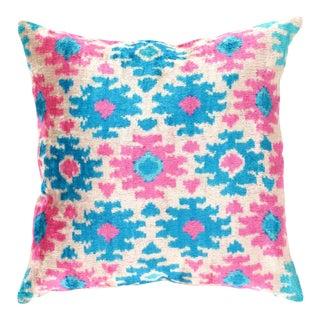 Turkish Hand Woven Silk Velvet Ikat Pillow 20'' #Ti 287 For Sale