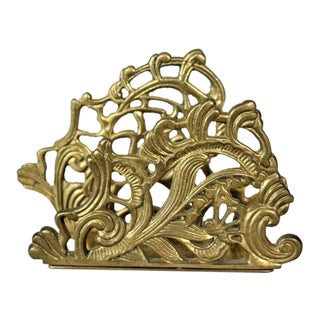 Vintage Brass Bluebell Floral Letter Holder For Sale