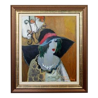 1970s Mid Century Modern Tarkay Framed Original Acrylic Chalk Painting Lady Black Hat For Sale