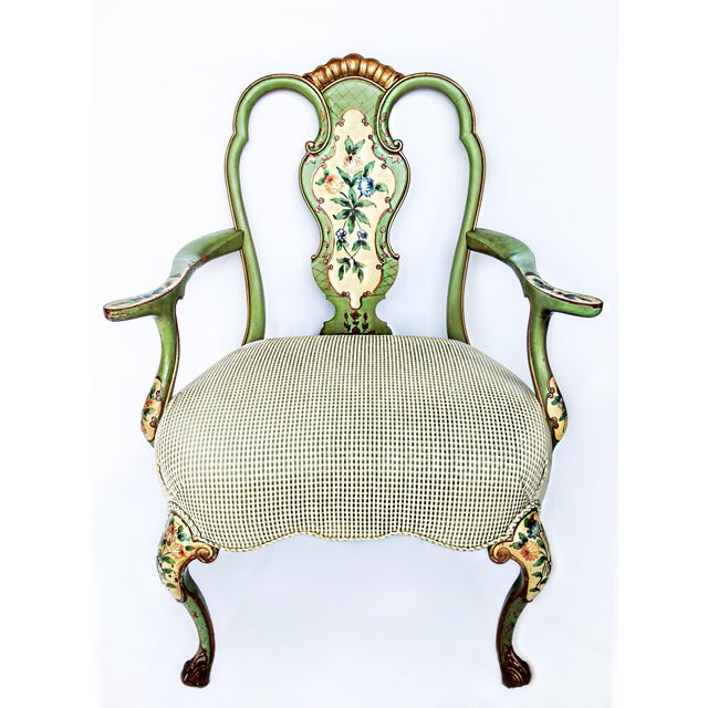 1920s Vintage Italian Venetian Hand Painted Fauteuil Arm Chair For Sale - Image 11 of 11