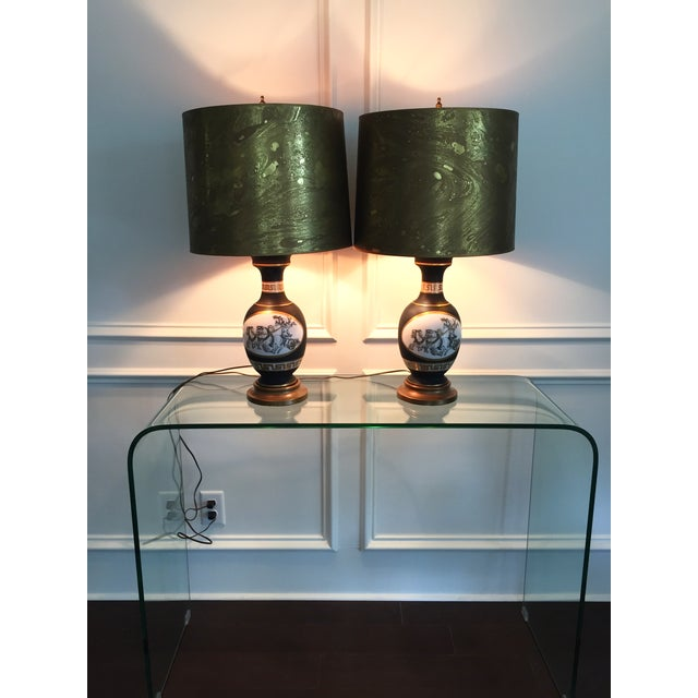 Black Porcelain Lamps with Gold Shades - A Pair - Image 6 of 11