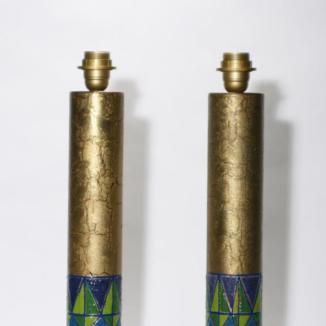 A pair of enamel on copper tall table lights with coloured pattern on ancient gold background. ca.1950 Venice Italian...