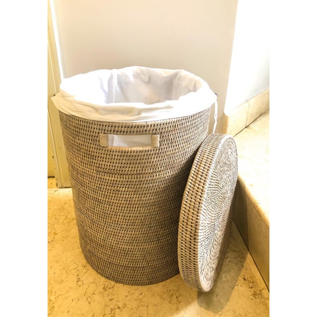 Wood Artifacts Rattan Round Hamper with Cotton Liner For Sale - Image 7 of 7