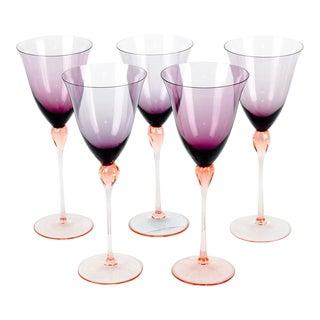 Vintage Murano Amethyst Wine Glasses For Sale