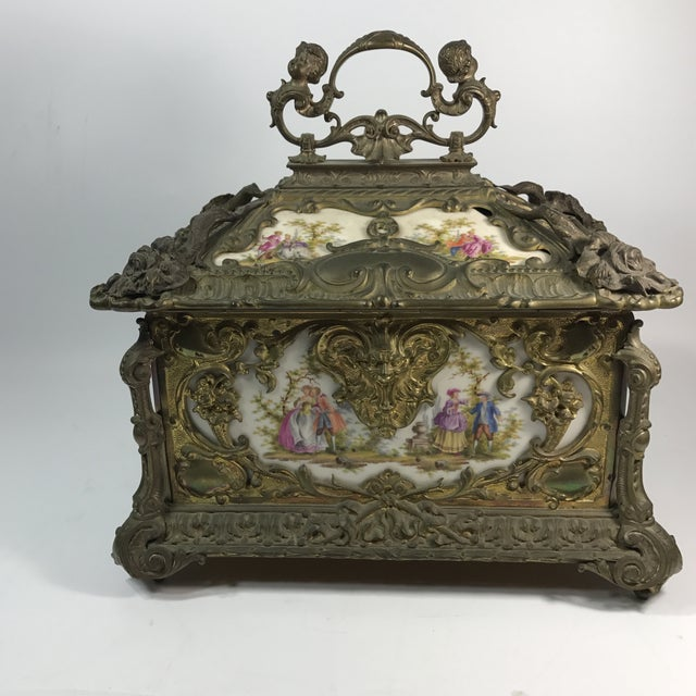 Victorian KPM Porcelain & Gilded Bronze Jewelry Box For Sale - Image 4 of 11