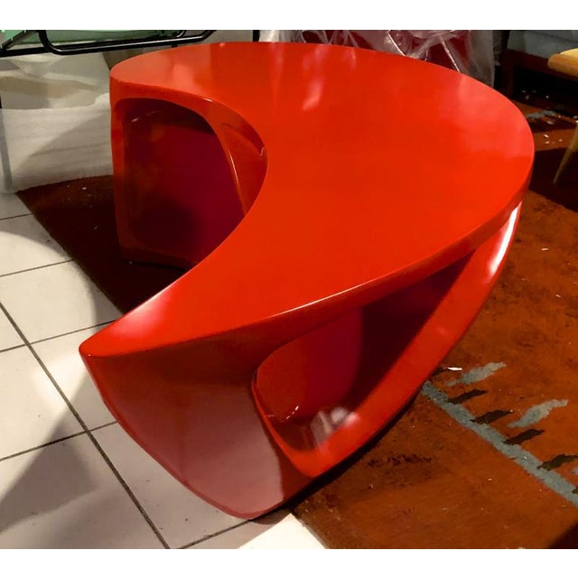 Boomerang Shaped Red Abstract Coffee Table For Sale - Image 6 of 7