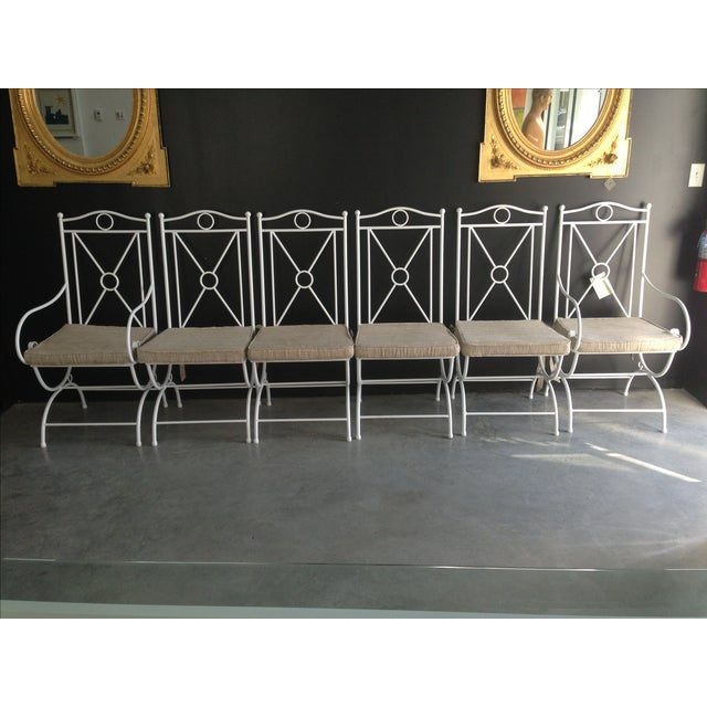 Handmade White Wrought Iron Patio Dining Set For Sale - Image 4 of 6