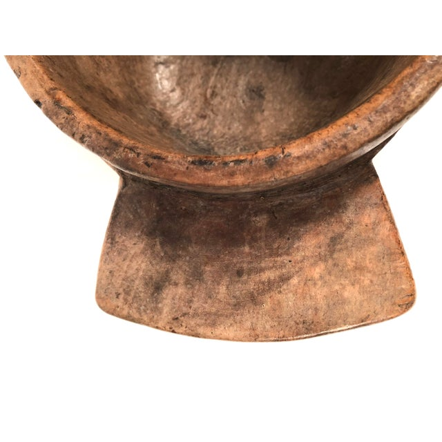 Brown Early Primitive Carved Wood Bowl For Sale - Image 8 of 12