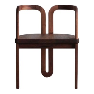 Modern Sculpted Walnut Side Chair For Sale