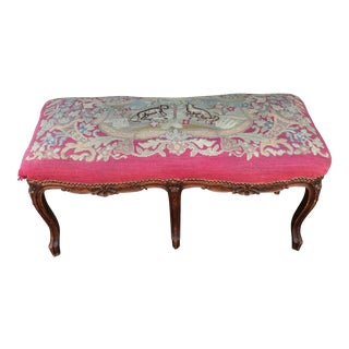 Early 20th Century Fox and Hound Needlepoint Louis XV-Style Bench For Sale