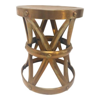 1950s Hollywood Regency Polished Brass Stool For Sale