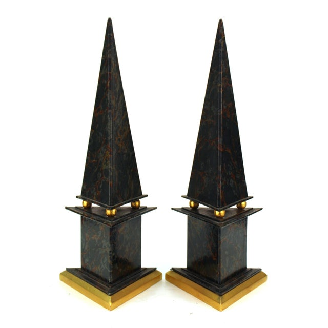 Neoclassical Style Obelisks in Marbled Paper and Gold Foil - a Pair For Sale - Image 4 of 11