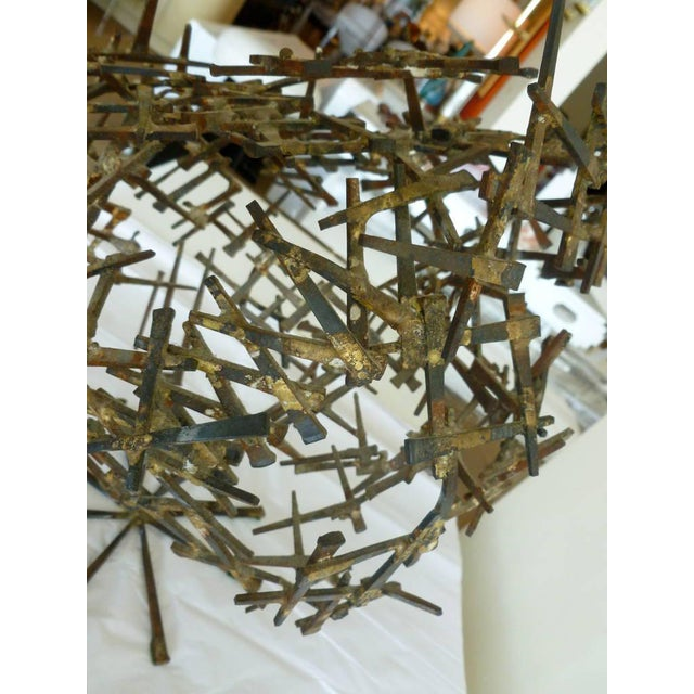 1970s Brutalist Abstract One of Kind Tabletop Nail Sculpture For Sale - Image 4 of 11