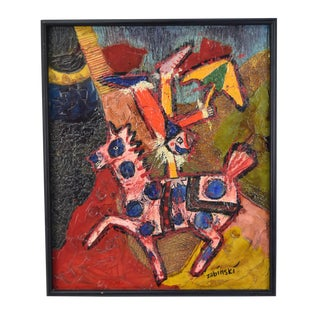Mid-Century Abstract Zabinski Equestrian Clown Heavy Impasto Oil Painting For Sale
