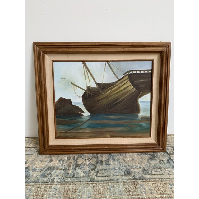 Mid 20th Century Vintage Mid-Century Shipwreck Framed Oil Painting For Sale - Image 5 of 5