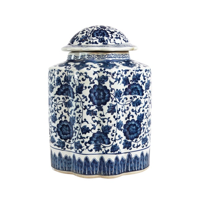 Blue & White Porcelain Ginger Jar For Sale