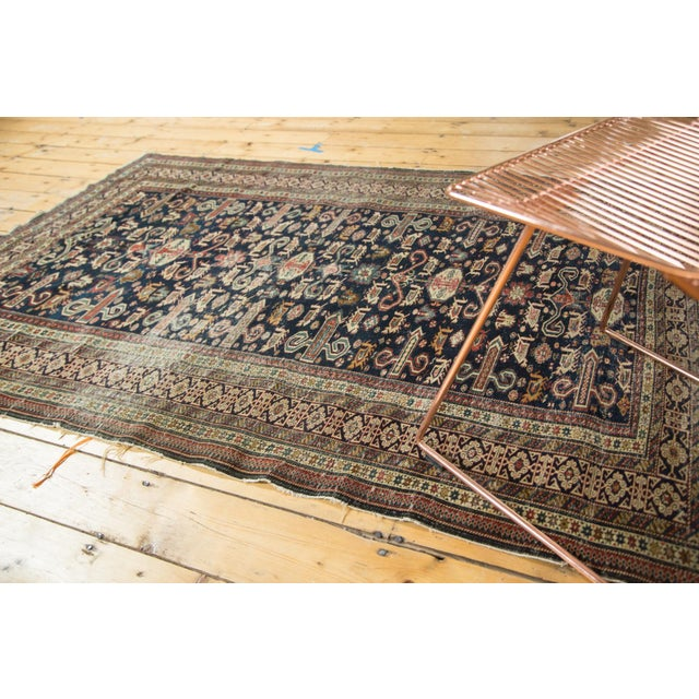 :: Unusually finely woven antique Caucasian, featuring a perepedil design rams horn motif with classic Kufic border. Well...