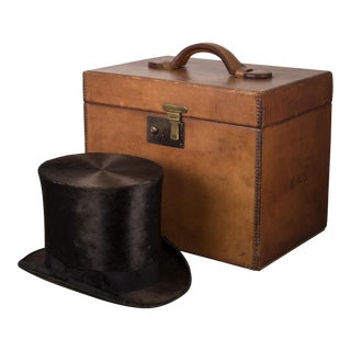 19th c. Beaver Skin Top and Original Leather Hat Box c. 1800s