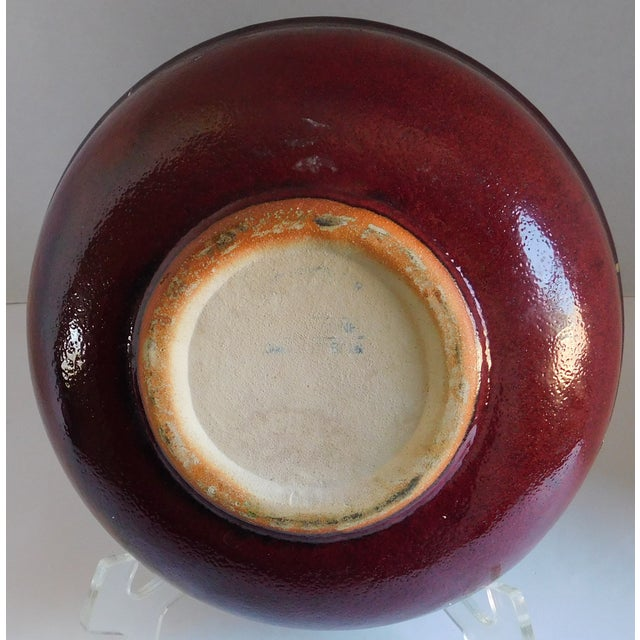 Americana Vintage Claret and Taupe Heavy Glazed Pottery Bowl For Sale - Image 3 of 13