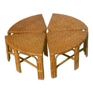 Vintage Mid Century Wicker Low Stools - Set of 4 For Sale