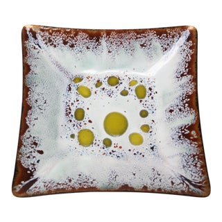 Frank Lee Enamel on Copper Square Dish For Sale