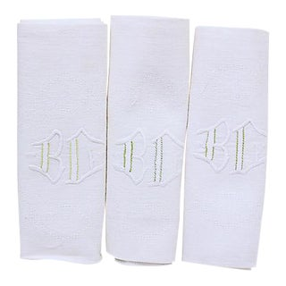 "1920s French Linen ""BC"" Monogram Napkins - Set of 12 For Sale"