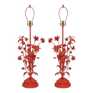 1960s High-Gloss Coral Italian Floral Table Lamps - a Pair For Sale