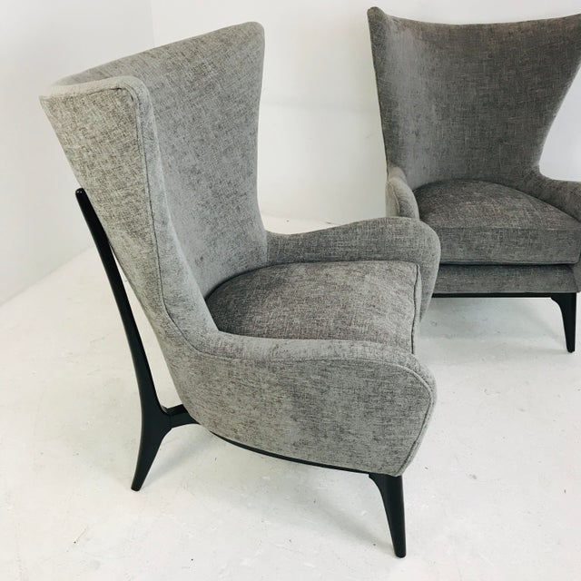 "2010s Caracole ""What's New Pussycat"" Mid-Century Modern Wingback Chairs - a Pair For Sale - Image 5 of 10"