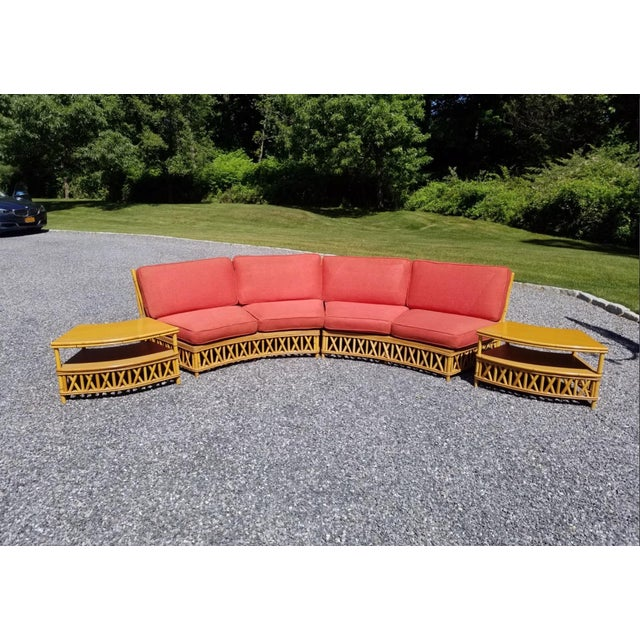 Mid-Century Modern Mid Century Modern Ficks Reed Crescent Sectional Sofa & Tables For Sale - Image 3 of 12