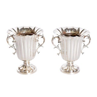 Mid-19th Century Pair of Silver Plate Ice Vases by Elkington & Co., England For Sale