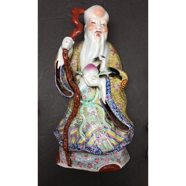 Chinese Porcelain Deities, Fu, Lu, Shou Wall Hanging Figures - Set of 3 For Sale - Image 4 of 10