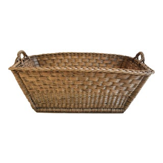 Large Early French Woven Wicker/Willow Market Basket For Sale