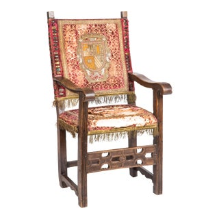 Spanish Baroque Walnut Armchair For Sale