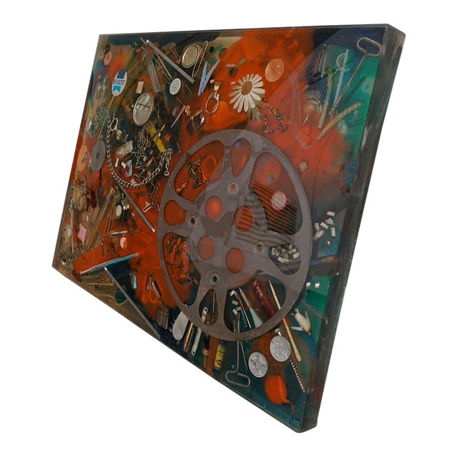 Double-Sided Collage Imbedded in Lucite For Sale