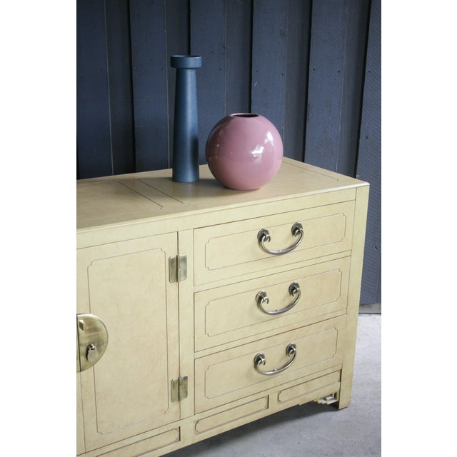 Yellow Faux Parchment Lacquered Chinoiserie Credenza For Sale - Image 8 of 11