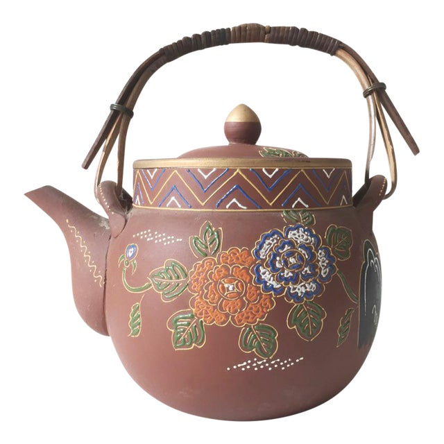 Asian Floral Enameled Clay Teapot For Sale