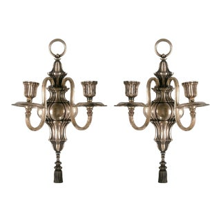 Early Caldwell Silver Plated Sconces - a Pair For Sale