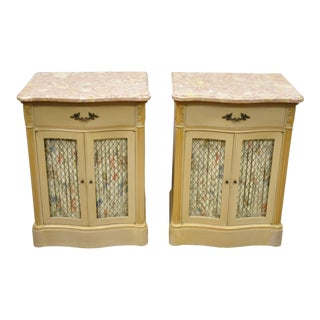 Pair of Pink Marble Top Serpentine Front French Victorian Style Nightstands For Sale