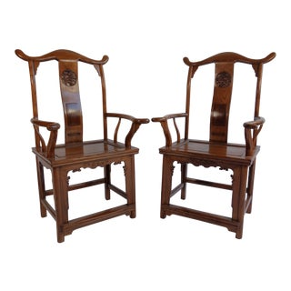1940s Antique Chinese Scholar Chairs- A Pair For Sale